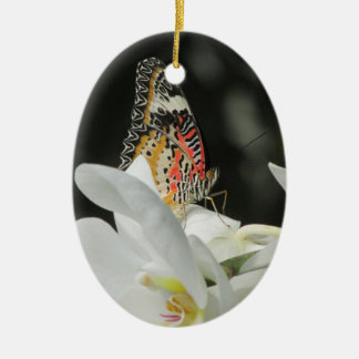 Leopard Lacewing Butterfly on White Orchid Ceramic Oval Ornament