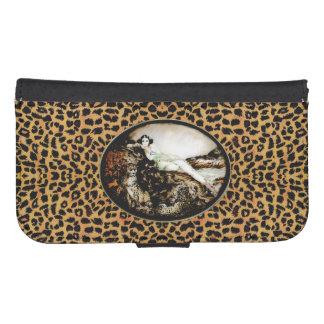 Leopard Lady Fine Art Animal Wallet Phone Case Galaxy S4 Wallet