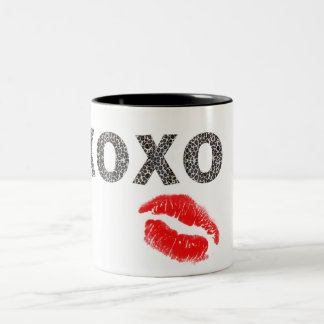 leopard lips Two-Tone coffee mug