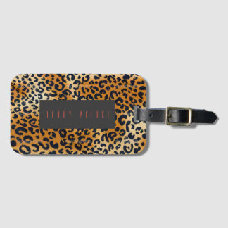 Leopard Look Textured Luggage Tag