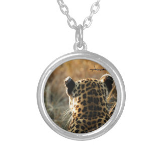 Leopard Looking Off Into Distance Silver Plated Necklace