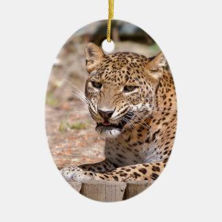 Leopard lying ceramic ornament
