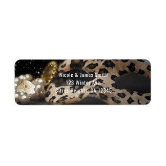 Leopard Masquerade Mask & Pearls Party Invitation
