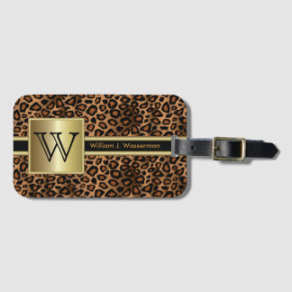 Leopard Monogram Executive Style Luggage Tag