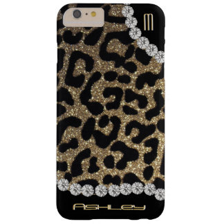 Leopard Monogram Glitter Barely There iPhone 6 Plus Case