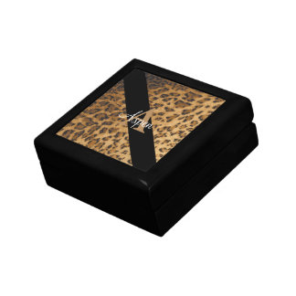 Leopard Monogram Initial Letter A Jewelry Box
