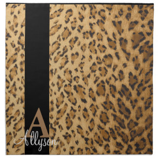 Leopard Monogram Initial Letter A Napkin