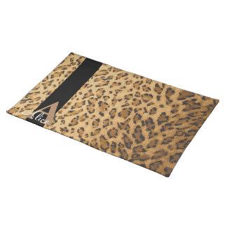 Leopard Monogram Initial Letter A Placemat