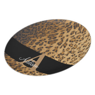 Leopard Monogram Initial Letter A Plate