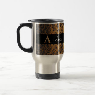 Leopard Monogram Initial Letter A Travel Mug