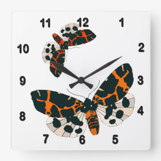 Leopard Moths in Flight Formation Square Wall Clock