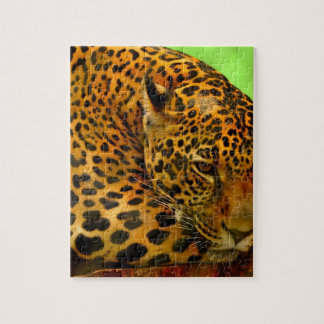 Leopard on Brown Log Jigsaw Puzzle