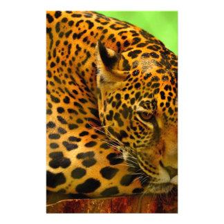 Leopard on Brown Log Stationery