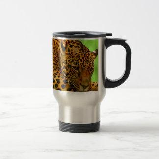 Leopard on Brown Log Travel Mug