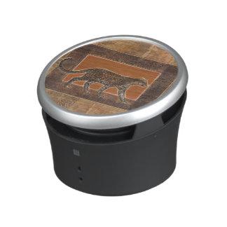 Leopard on Orange and Brown Background Bluetooth Speaker