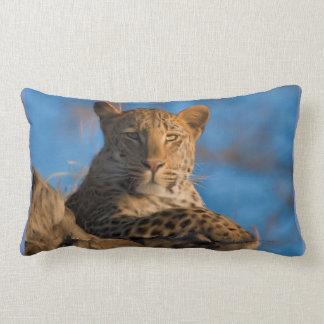 Leopard On Rock Lumbar Pillow