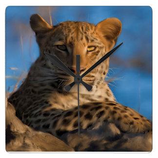 Leopard On Rock Wallclock