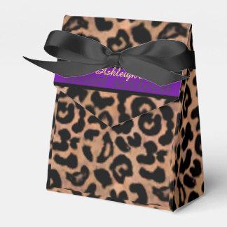 Leopard Patt Purple Stripe Sweet 16 Personalized Party Favor Boxes