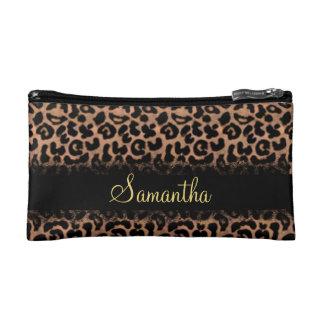 Leopard Pattern Custom Personalized Makeup Bag