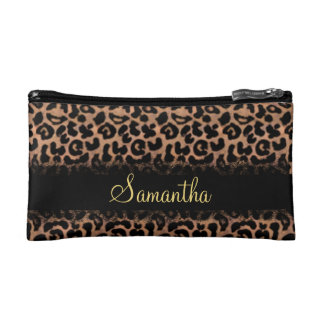 Leopard Pattern Custom Personalized Makeup Bag