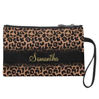 Leopard Pattern Custom Personalized Wristlet