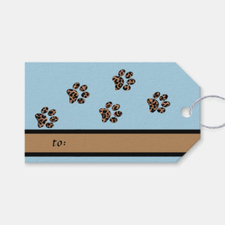 Leopard Pattern Paw Prints Blue Pet Pack Of Gift Tags