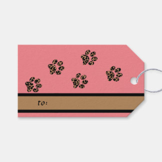 Leopard Pattern Paw Prints Pink Pet Pack Of Gift Tags