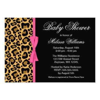 Leopard Pattern Pink Printed Ribbon Baby Shower Custom Invitation