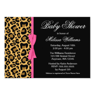 Leopard Pattern Pink Printed Ribbon Baby Shower Custom Invitation