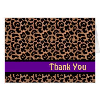 Leopard Pattern Purple Stripe Sweet 16 THANK YOU Card
