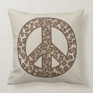Leopard Peace Symbol Throw Pillow