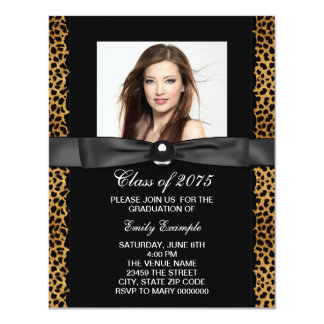"Leopard Photo Graduation Announcements 4.25"" X 5.5"" Invitation Card"