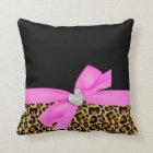 Leopard Pink Bow Diamond Heart Throw Pillow