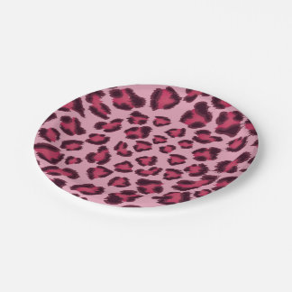 Leopard Pink Paper Plates