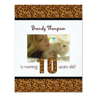 Leopard Print: 10th Birthday Invitation
