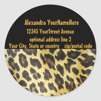 Leopard Print Address Labels Round Sticker