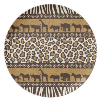 Leopard Print and African Animals Party Plate