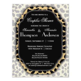 Leopard Print And Black Accent Frame Invite