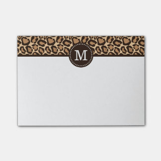 Leopard Print and Brown Custom Monogram Post-it® Notes