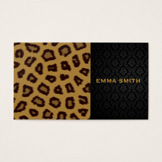 Leopard Print and Damask Business Card