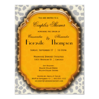 Leopard Print And Deep Yellow Accent Frame Invite