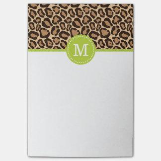 Leopard Print and Green Custom Monogram Post-it® Notes