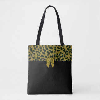 Leopard Print and Jewelled Bow Tote Bag