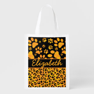 Leopard Print and Paws Orange Yellow Personalized Reusable Grocery Bag
