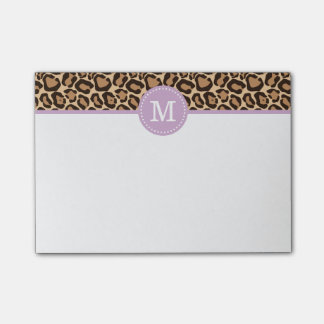 Leopard Print and Purple Custom Monogram Post-it® Notes