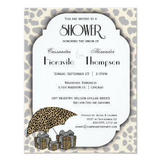 Leopard Print And Silver Accent Shower Invite