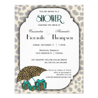Leopard Print And Teal Accent Shower Invite