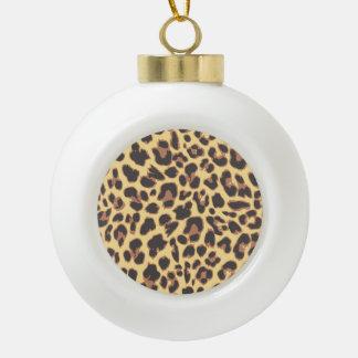 Leopard Print Animal Skin Patterns Ceramic Ball Christmas Ornament