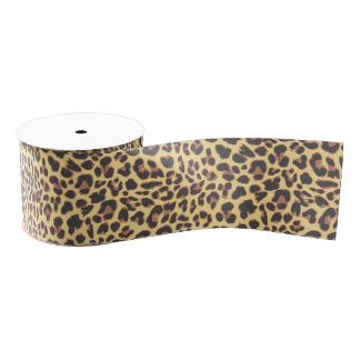 Leopard Print Animal Skin Patterns Grosgrain Ribbon
