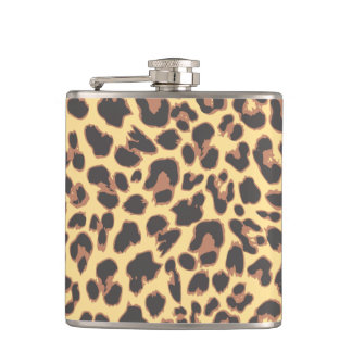 Leopard Print Animal Skin Patterns Hip Flask